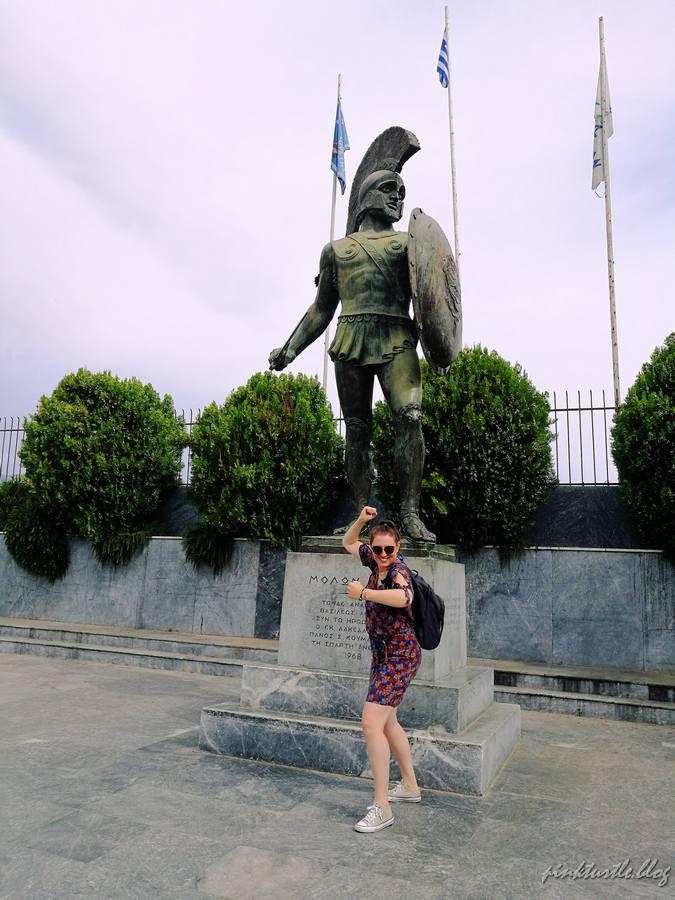 Sparte, statue de Léonidas @pink.turtle.blog